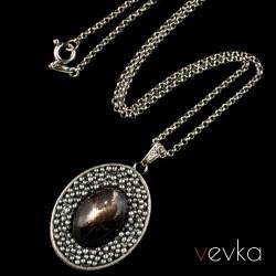 """Wisior z kamieniem księżycowym """"Czarny księżyc""""V"""