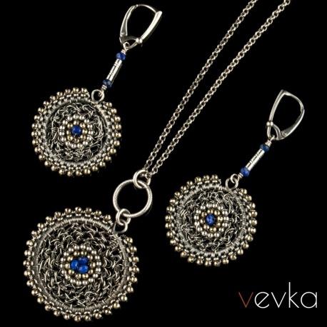 """Komplt biżuterii z lapisem lazuli """"Złoty kompas"""""""