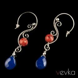 """Kolczyki z jadeitem i koralem """"Kolory miłości""""VIII"""