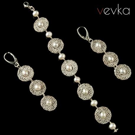 """Komplet biżuterii z pereł """"Wymarzona pogoda na ślub"""""""